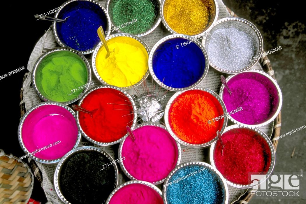 Stock Photo: Colored powders for Holi Festival in market, Kalimpong, West Bengal, India.