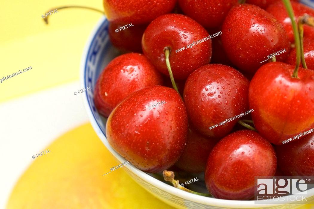 Stock Photo: bowl of cherries close-up.