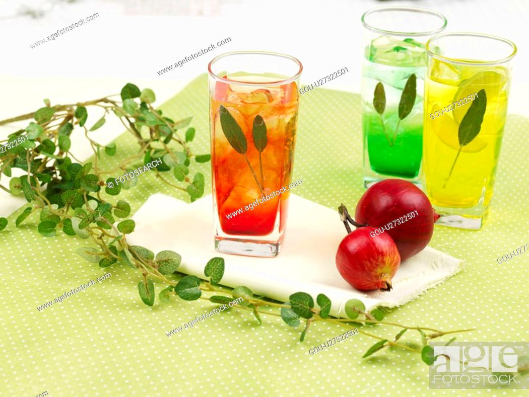 Stock Photo: decoration, leaf, food styling, table mat, tablecloth, lemon juice, glass cup.