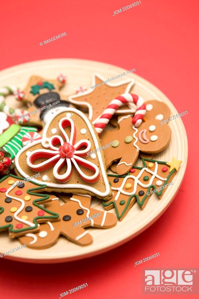 Stock Photo: A plate of Gingerbread cookies.