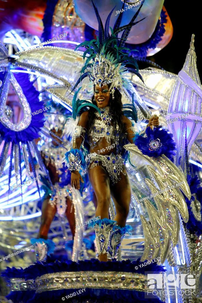 Stock Photo: Carnival parade at the Sambodrome, Rio de Janeiro, Brazil, South America.