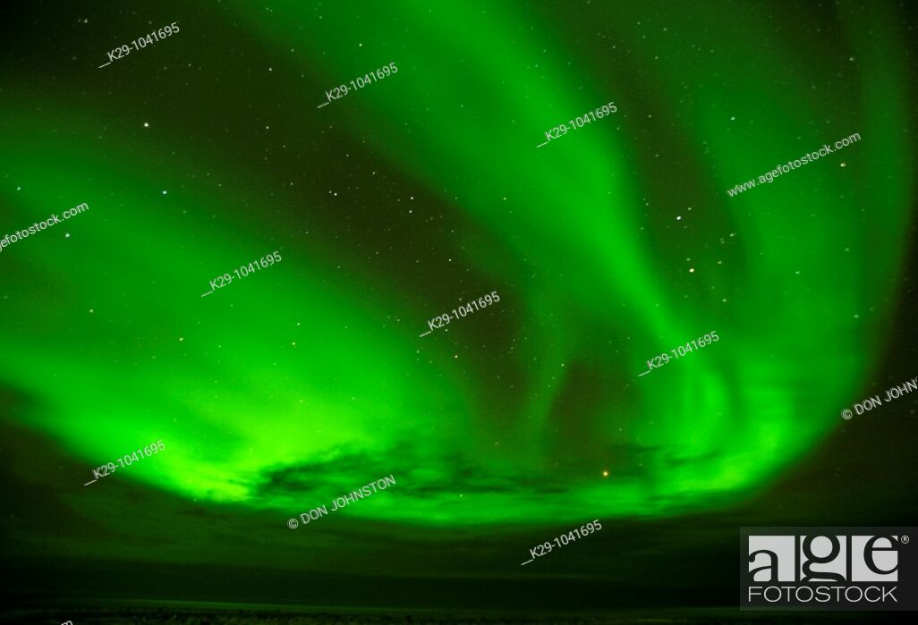 Stock Photo: Aurora borealis/Northern lights, with Ursa Major the Big Dipper constellation.