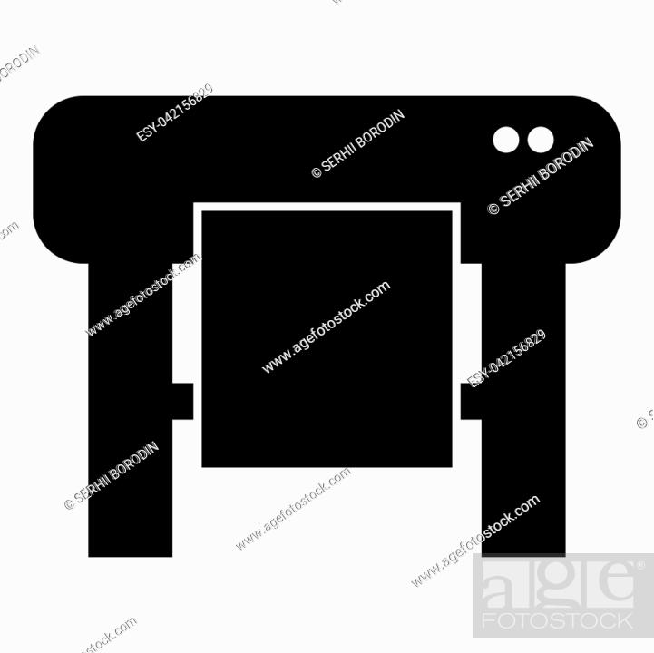 Stock Vector: Plotter icon black color vector illustration flat style simple image.