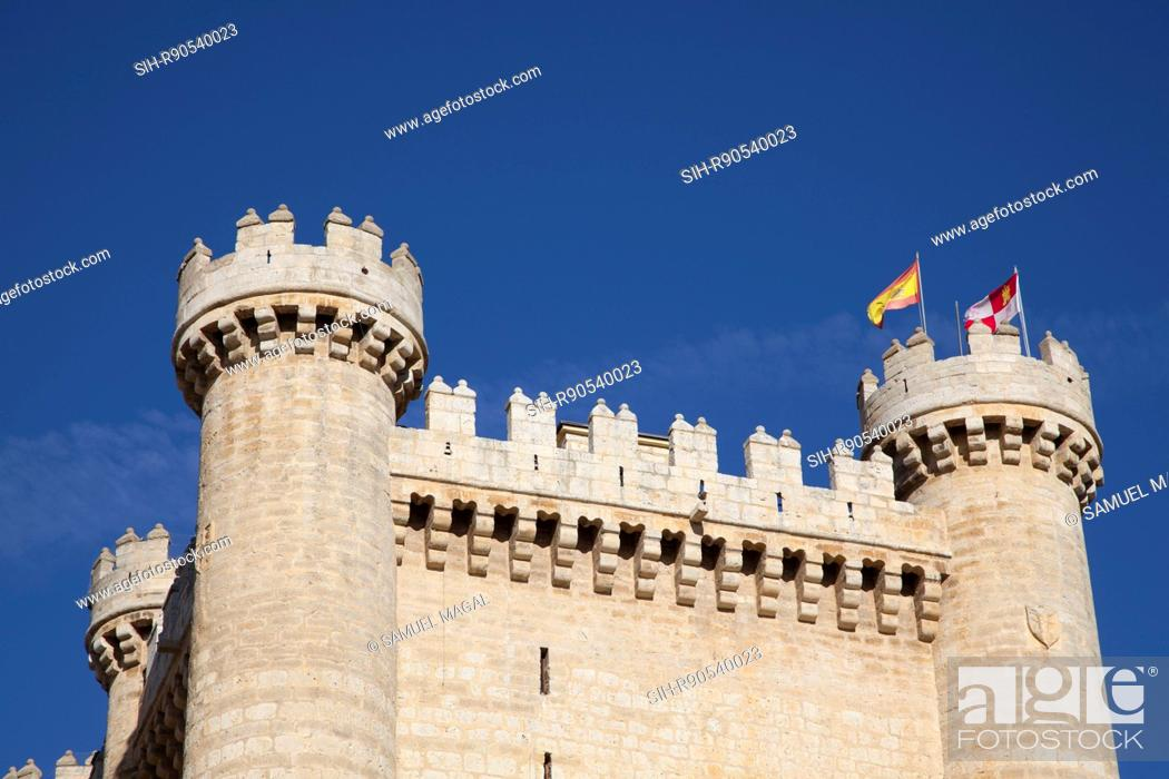 Stock Photo: Fuensaldana castle was built as a family residence in the mid-15th century by Don Alfonso Perez de Vivero, the treasurer of King John II of Castile.
