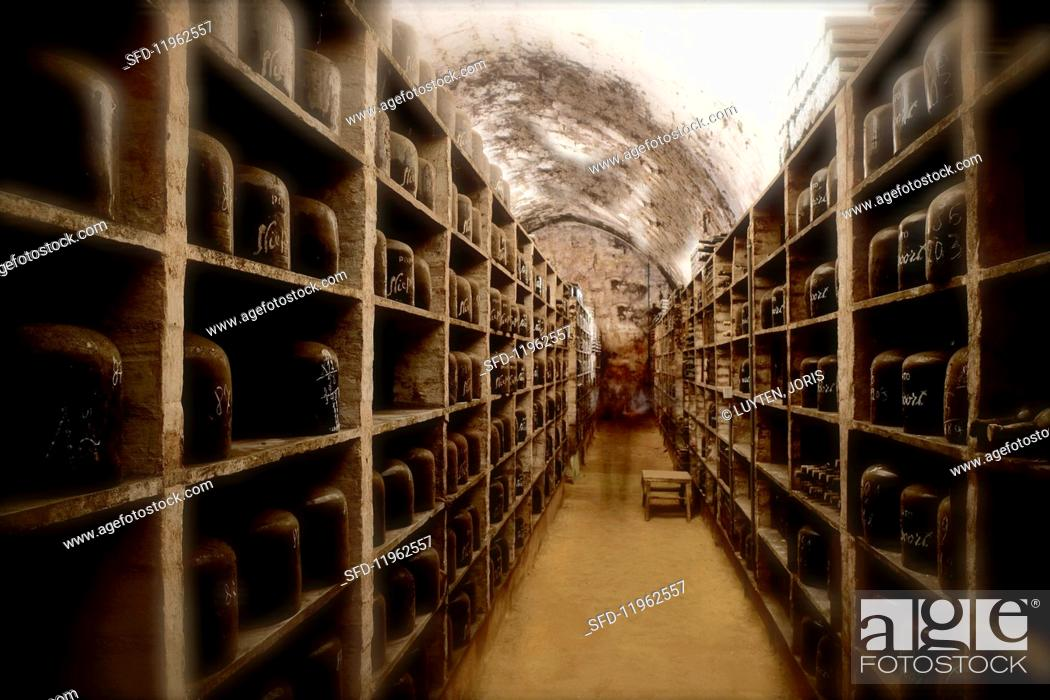 Stock Photo: Old port wines in the cellar of the Niepoort winery, Portugal.
