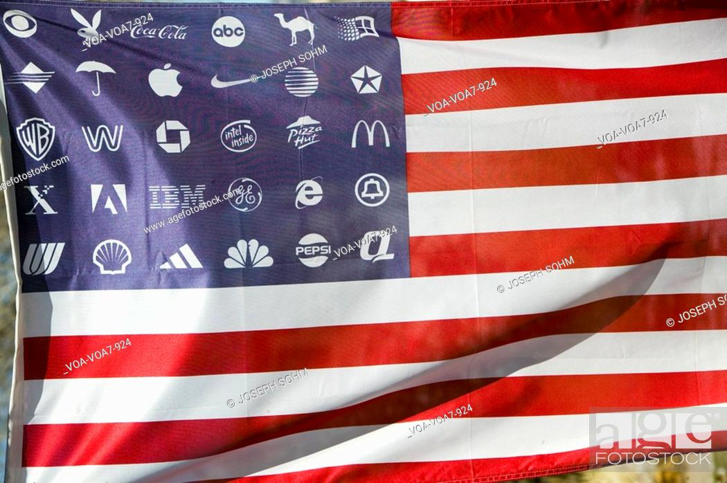 Corporate Logos In Place Of Stars On The American Flag Symbolize