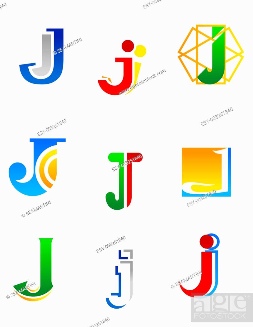 Stock Photo: Set of alphabet symbols and elements of letter J.