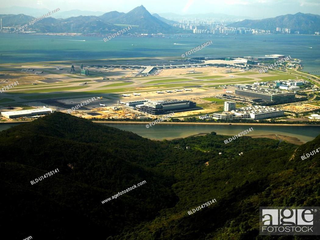 Stock Photo: Hong Kong International Airport, Chek Lap Kok, Hong Kong, Aerial view.