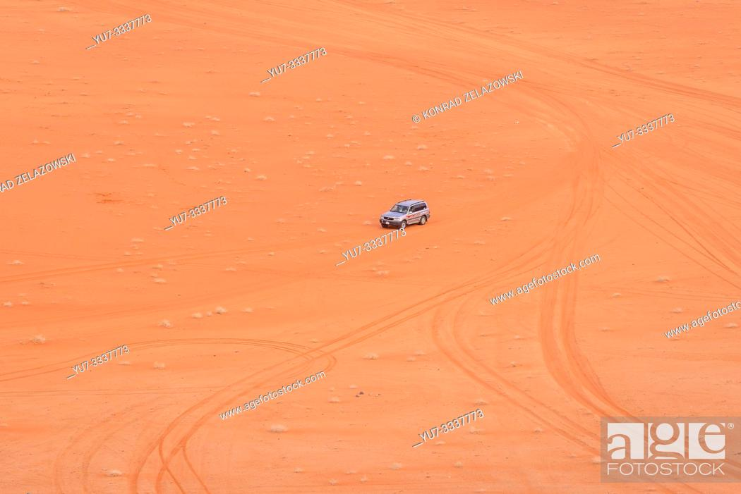 Stock Photo: Jeep tour in Wadi Rum valley also called Valley of the Moon in Jordan.