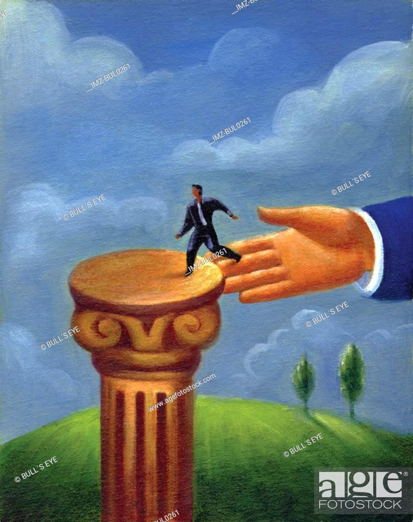 Stock Photo: A giant human hand guiding a tiny businessman onto a pedestal.
