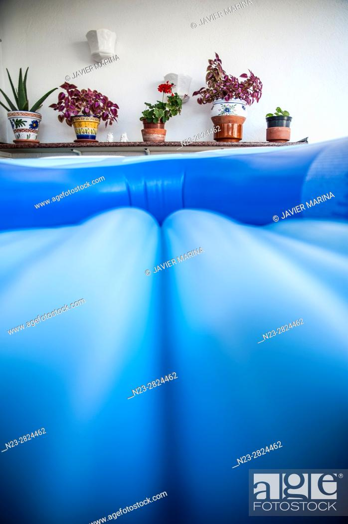 Stock Photo: Detail of an inflatable raft, Valencia, Spain.