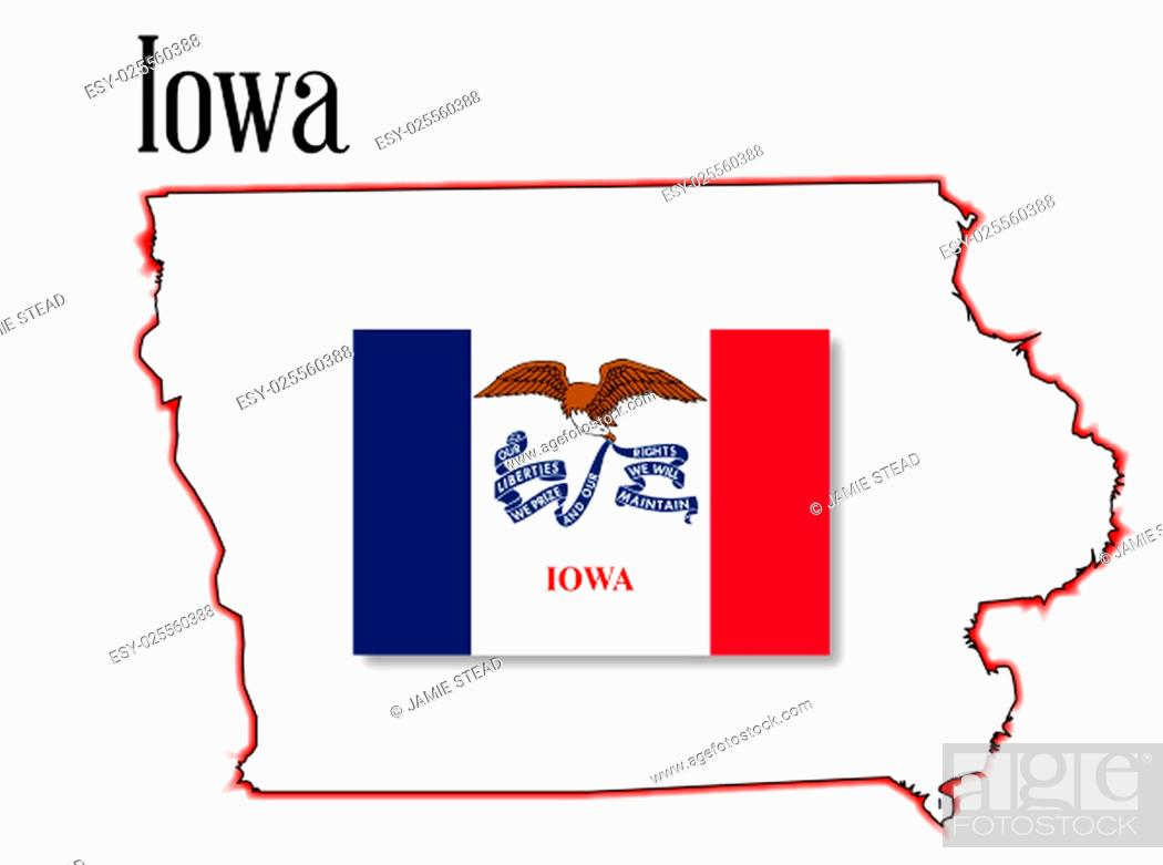 Imagen: Outline map of the state of Iowa over a white background with flag inset.