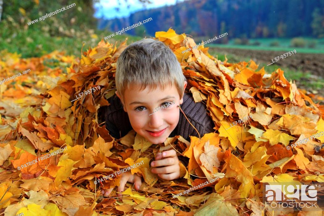 Stock Photo: boy lying in pile of leaves, fall Zuerich, Switzerland.