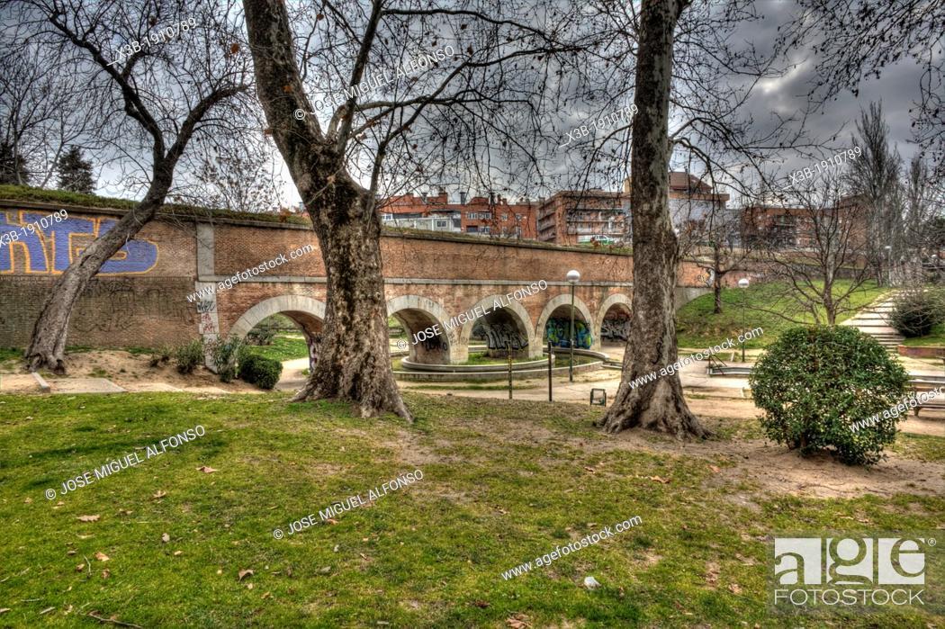 Stock Photo: Aqueduct. Sahagun rodriguez Park, Madrid, Spain.