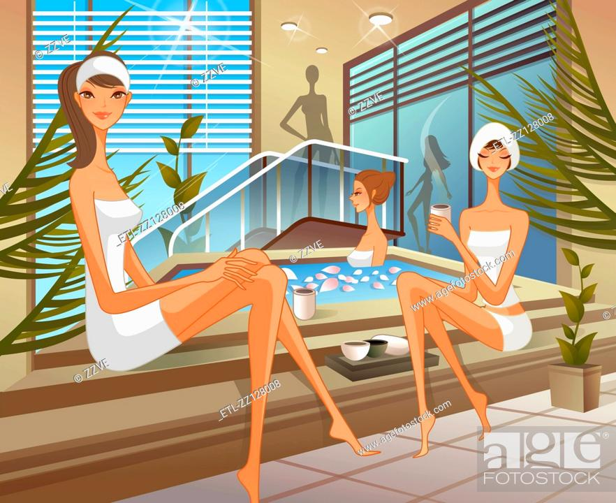 Stock Photo: Women at health spa.