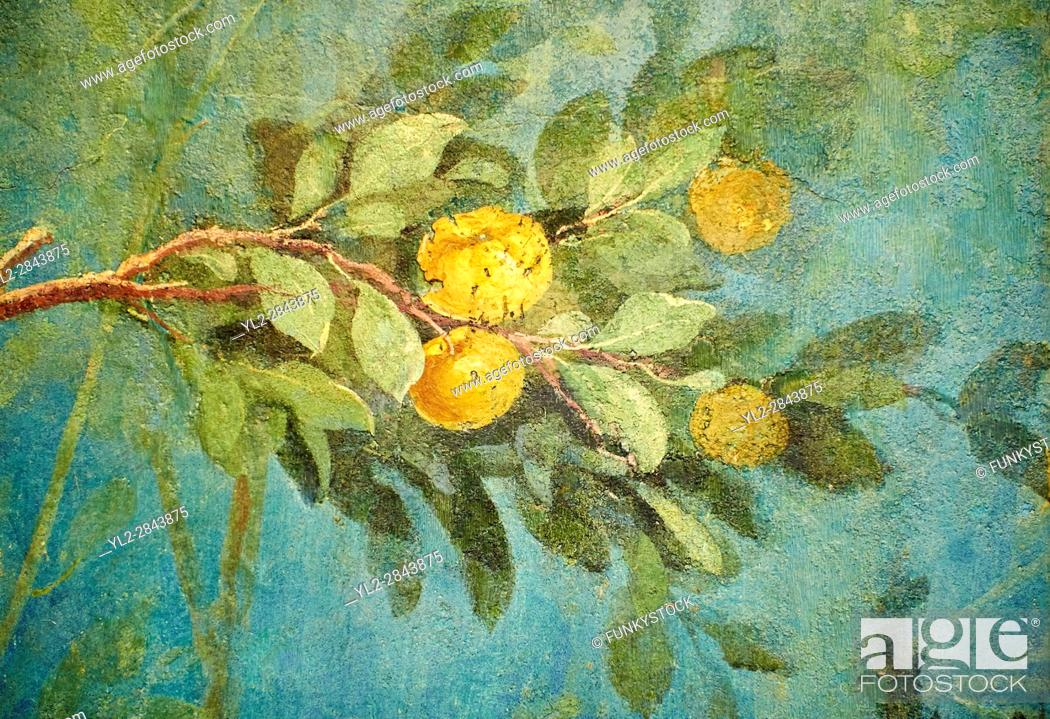 Stock Photo: Painted Fruit Tress in the Roman fresco of a garden from Villa Livia (Early first century AD), Rome, Livia was the wife of Roman emperor Augustus.