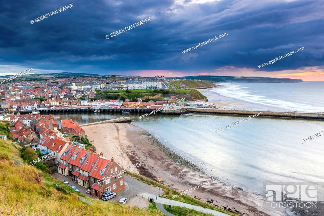 Stock Photo: View of Whitby harbour and town, North Yorkshire, England, United Kingdom, Europe.