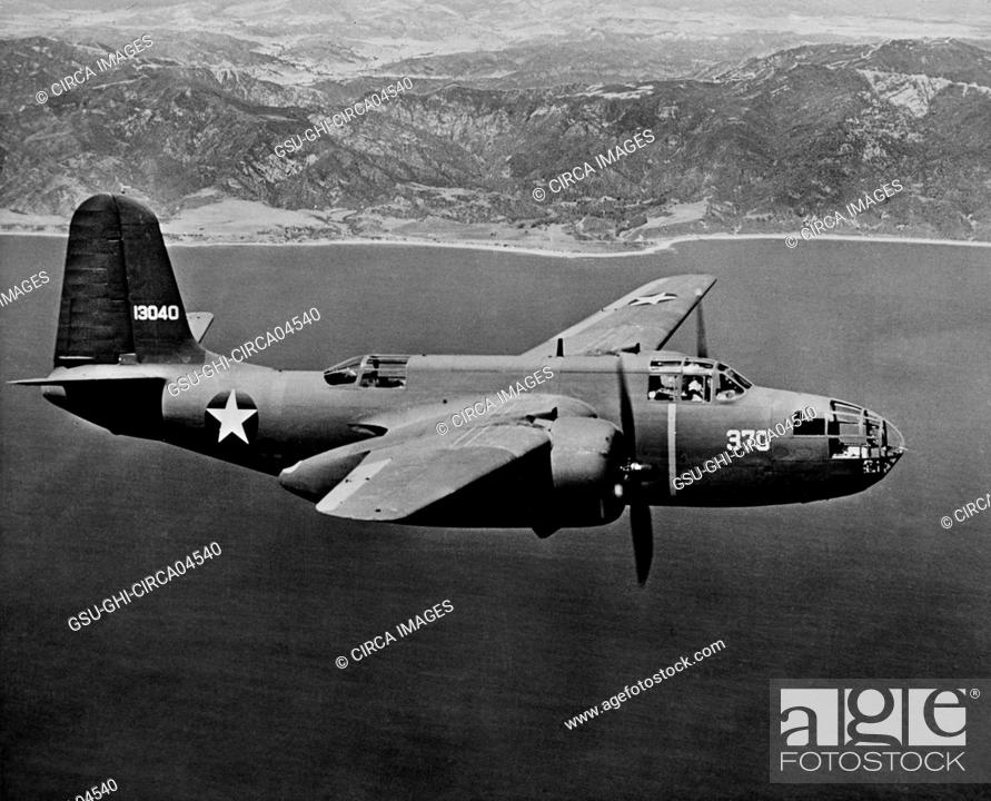 Stock Photo: U.S. Army Douglas A-20 (Havoc) Light Dive Bomber, In-Flight, Office of War Information, 1942.