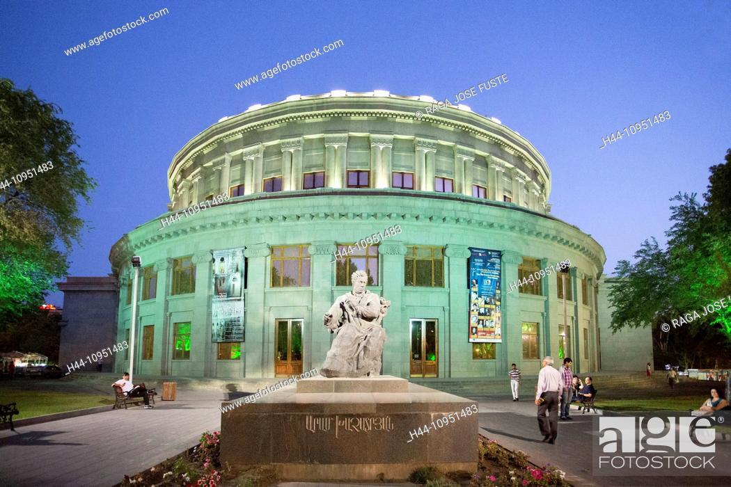 Stock Photo: Armenia, South Caucasus, Caucasus, Eurasia, Yerevan, building, city, downtown, opera, round, statue, night, terrace.