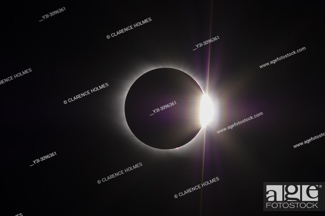 Stock Photo: The Sun's corona and the diamond ring effect are visible at the end of the total eclipse phase of the Great American Eclipse on August 21, 2017.