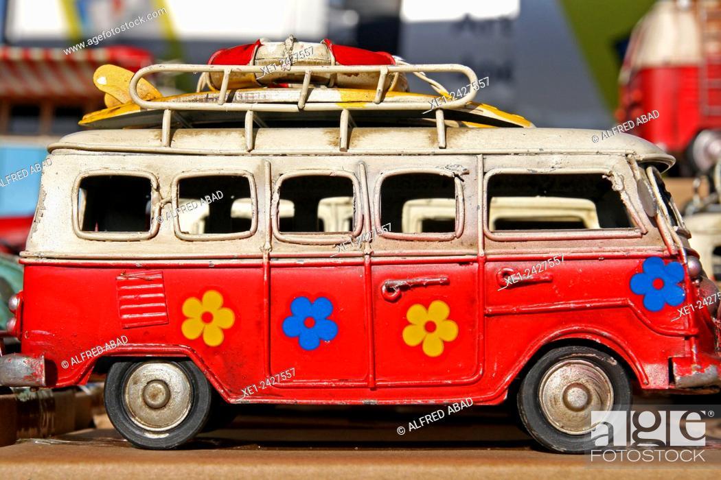Stock Photo: Campervan, miniatures classic car.