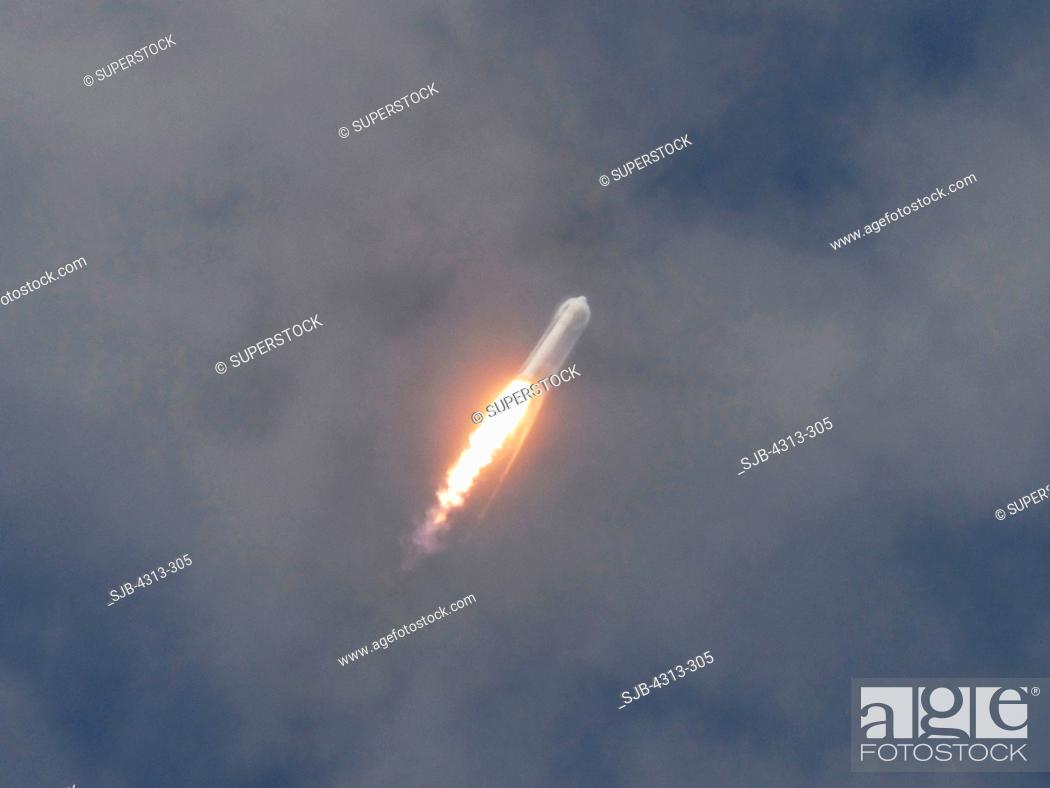 Stock Photo: The Space Exploration Technologies SpaceX Falcon 9 rocket launches for the first time, from Pad 40 at Cape Canaveral Air Force Station, Florida.