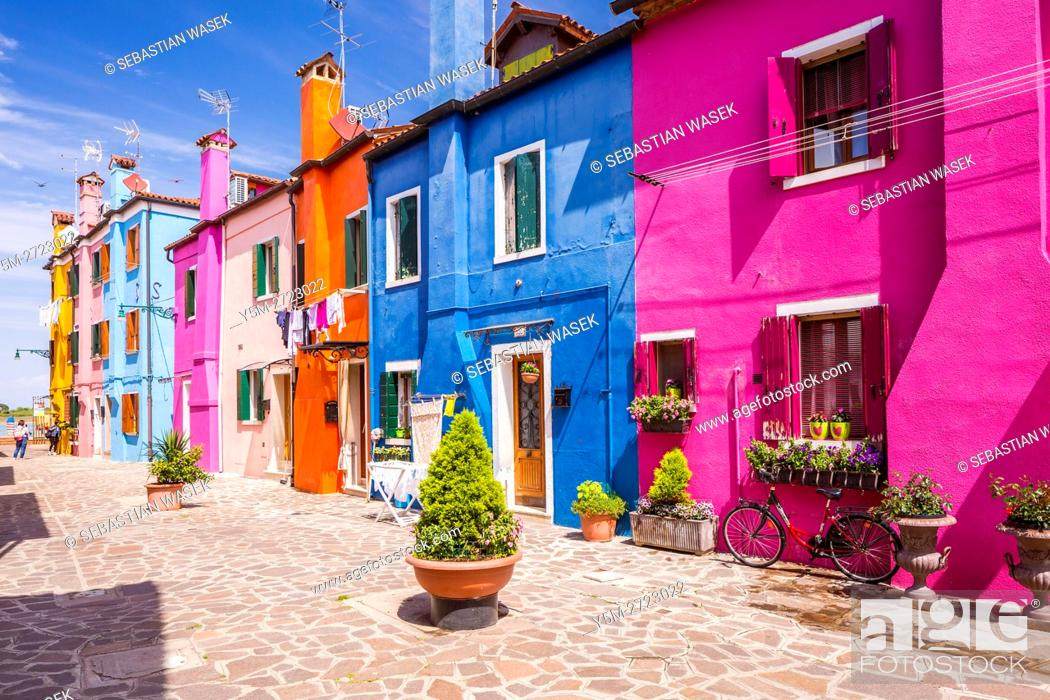 Stock Photo: Colored houses in village of Burano near Venice, Veneto, Italy, Europe.