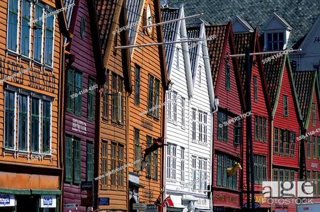 Stock Photo: Norway, Bergen, Bryggen District With Historic Wooden Houses From Hanseatic Period.