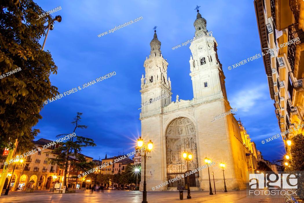 Photo de stock: St. James way, Cathedral of Santa María de la Redonda at Logroño, La Rioja, Spain.