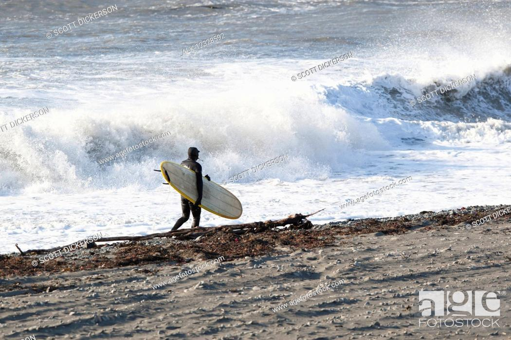 Photo de stock: Surfer with his board walking along the shore with crashing waves in the background, Southeast Alaska; Yakutat, Alaska, United States of America.