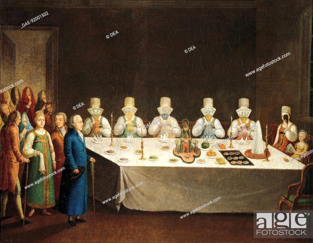 Stock Photo: A country wedding in Toropec, Russia 18th century.  Mosca, Gosurdarstvennyj Istoritscheskij Muzej (Museo Storico).
