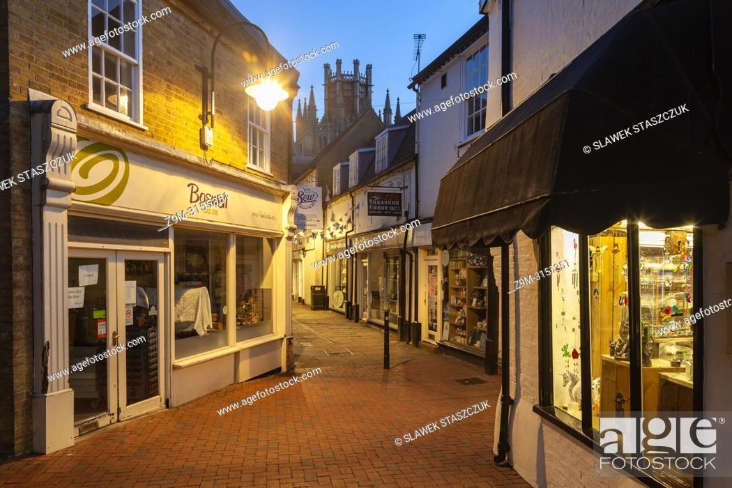 Stock Photo: Night falls in Ely, Cambridgeshire, England.