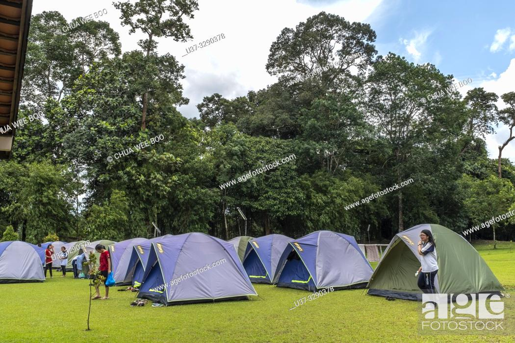Stock Photo: Sumiran Eco-Camp a multicultural rainforest mix eco-farm camp for all ages. Located in the Kuching City Batu Kawa Rantau Panjang, Sarawak, Malaysia.