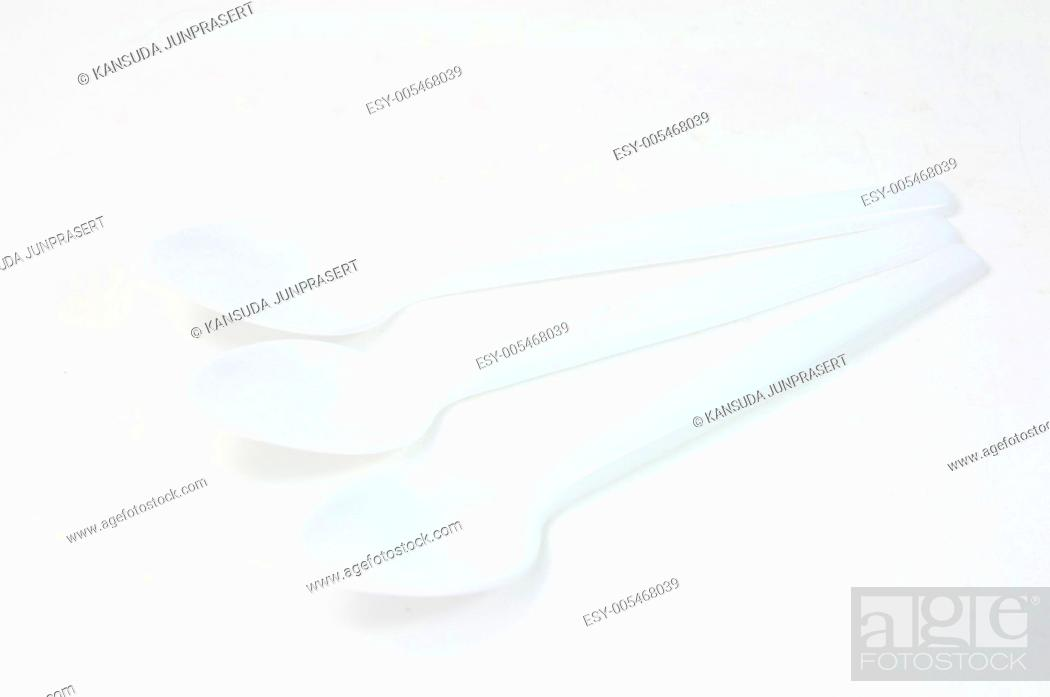 Stock Photo: Plastic silverware set isolated on white, clipping path included.