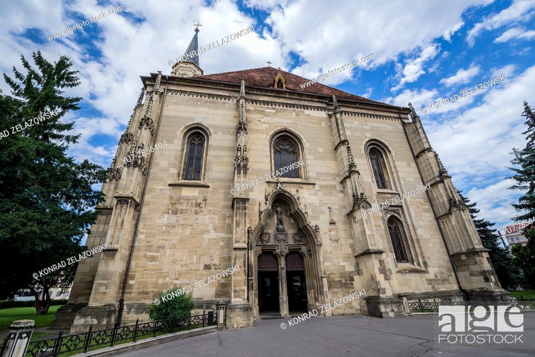 Stock Photo: Gothic-style Roman Catholic church of Saint Michael, located on Union Square in Cluj Napoca, second most populous city in Romania.