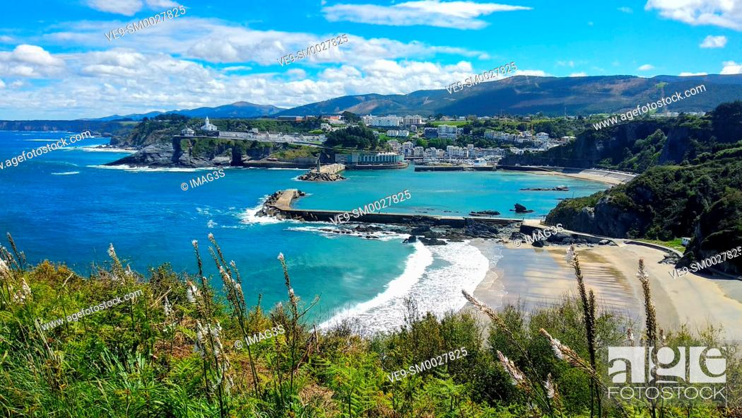 Stock Photo: Luarca town cityscape, Valdés municipality, Asturias, Spain.