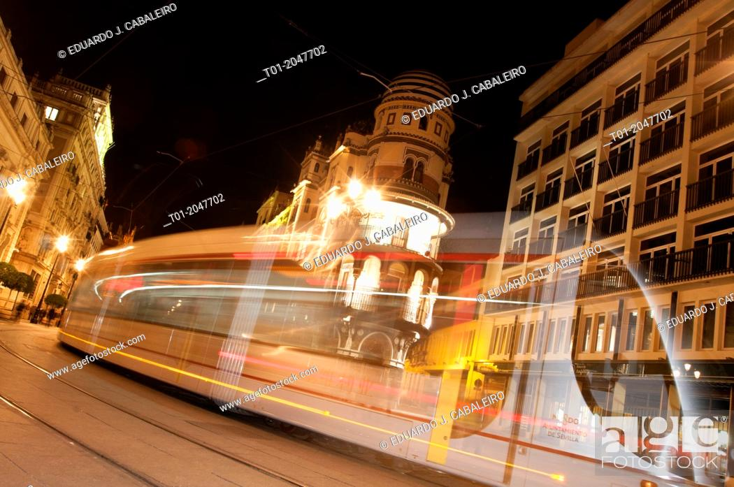 Stock Photo: moving tram trail. Seville.