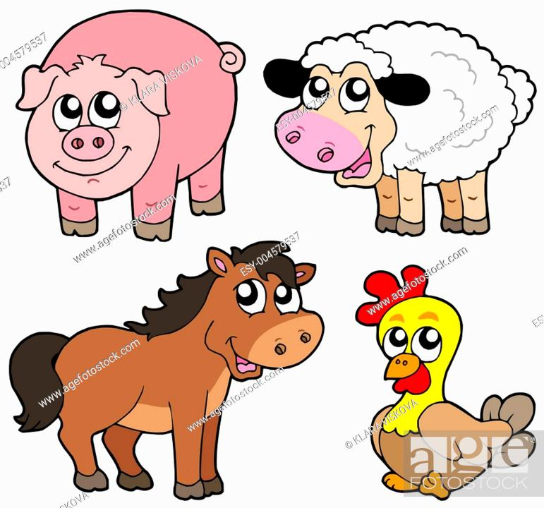 Stock Photo: Cute country animals collection.