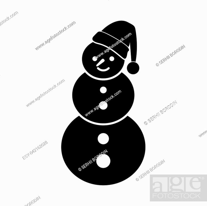 Stock Vector: Snowman it is black icon . Flat style.