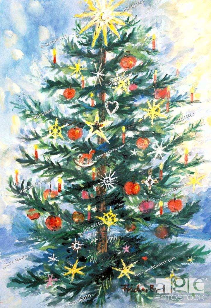 Stock Photo: christman, christmas tree, decorated fir, painting by Sibylle Fischer-Bradford, 11 12 1997, fine arts, Fischer - Bradford, 20th century, historic, historical,.