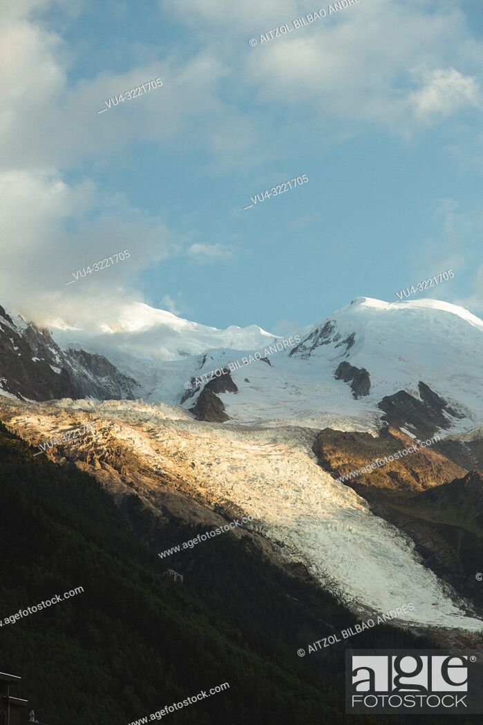 Stock Photo: The Bossons Glacier is one of the larger glaciers of the Mont Blanc massif of the Alps, found in the Chamonix valley of Haute-Savoie département.