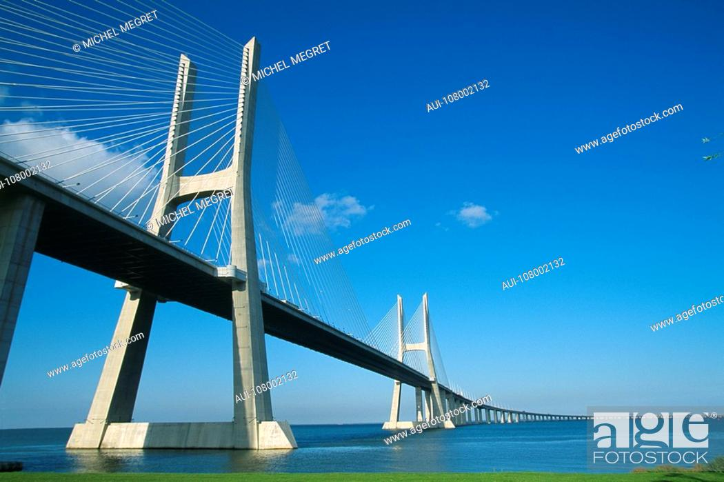 Stock Photo: Portugal - Lisbon - Vasco da Gama Bridge.