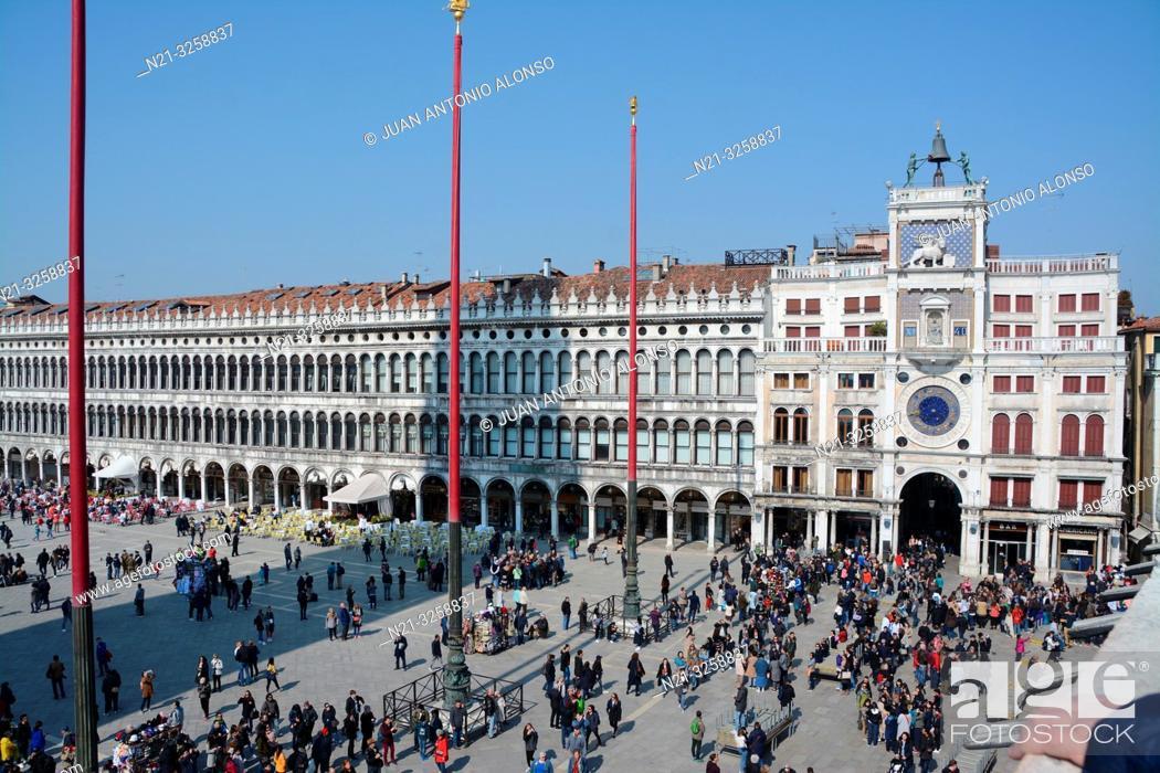 Stock Photo: Piazza di San Marco with the Clock Tower - Torre dell'Orologio - on the right. Venice, Veneto, Italy.