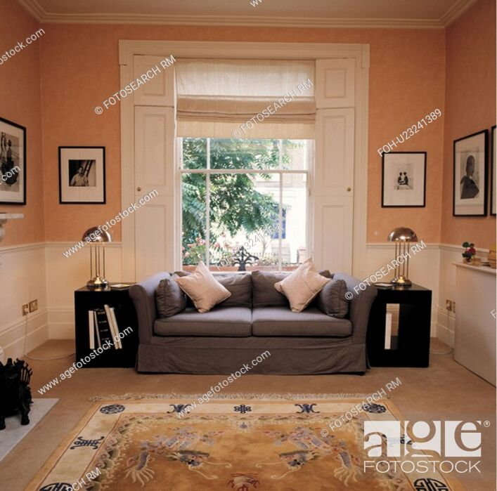 Stock Photo Livingroom With Sofa In Front Of Window