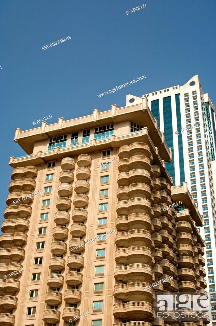 Stock Photo: Close-up shots of residential skyscrapers, Sharjah, United Arab Emirates.