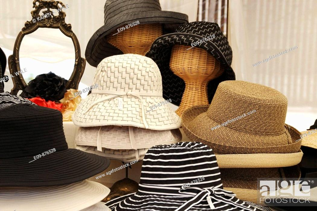 Stock Photo: hats for sale at farmer's-etc  market, Los Angeles, CA.