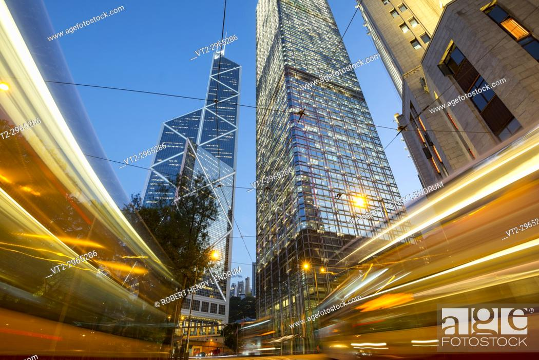 Stock Photo: Central financial district and the city center skyline, Hong Kong, China.