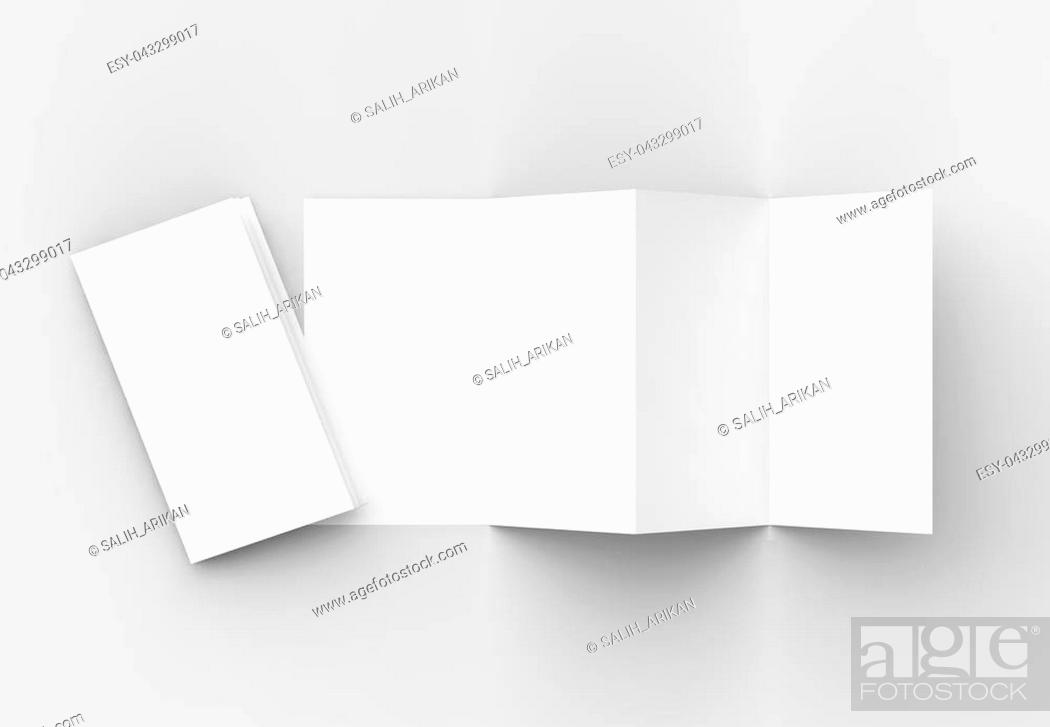Stock Photo: 8 page leaflet, 4 panel accordion fold vertical brochure mock up isolated on light gray background. 3D illustrating.
