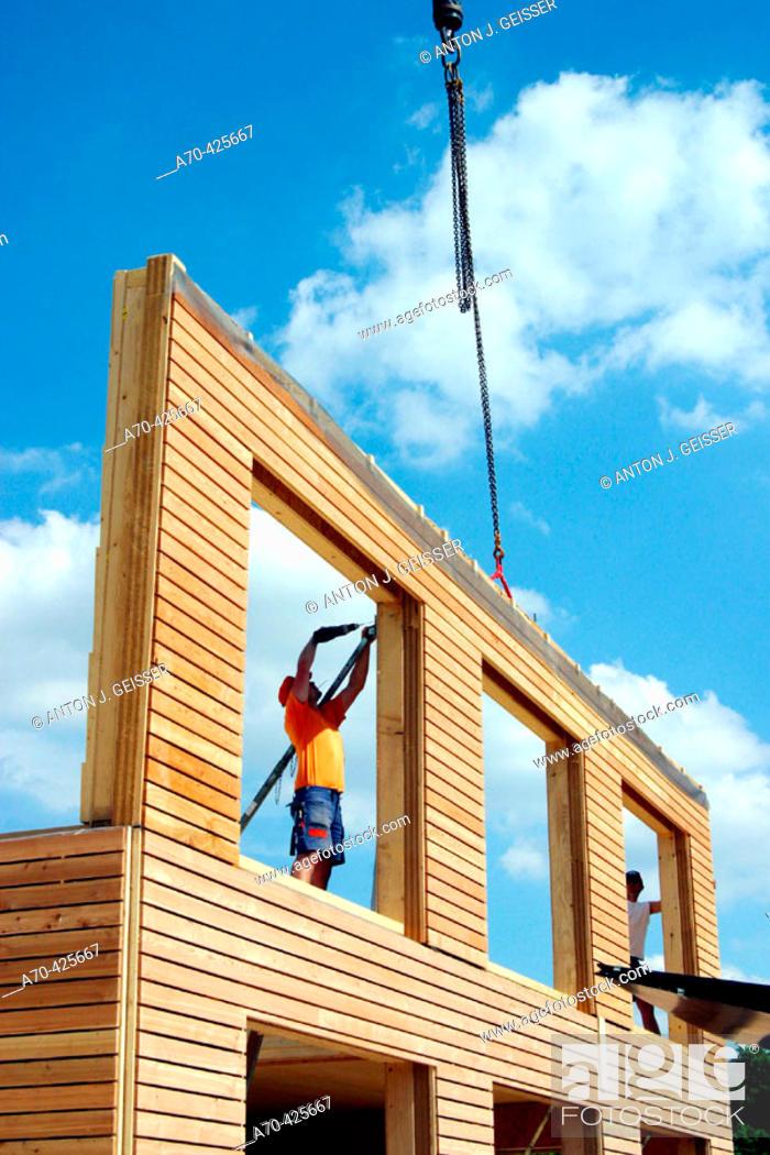 Stock Photo: Assembling a prefabricated house.