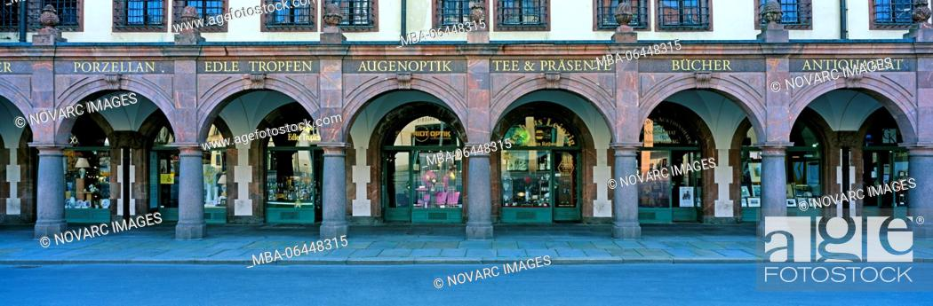 Stock Photo: Shopping arcade under the Old Town Hall, Leipzig, Germany.